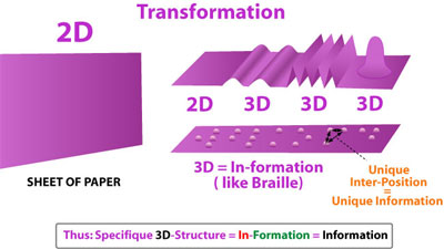 the plane paper can be deformed in three dimensional shapes receiving this way additional information